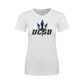 Next Level Ladies SoftStyle Junior Fitted White Tee-UCSD w/Trident