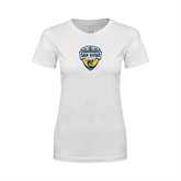 Next Level Ladies SoftStyle Junior Fitted White Tee-UC San Diego Crest