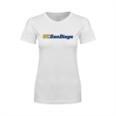 Next Level Ladies SoftStyle Junior Fitted White Tee-UC San Diego