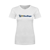 Next Level Ladies SoftStyle Junior Fitted White Tee-Official Logo w/UC San Diego
