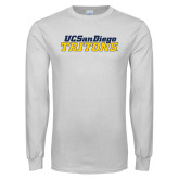 White Long Sleeve T Shirt-UC San Diego Tritons Mark