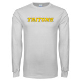 White Long Sleeve T Shirt-Tritons Wordmark