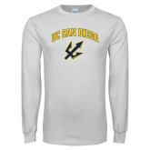 White Long Sleeve T Shirt-UC San Diego Arched Over Trident