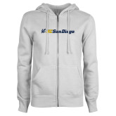 ENZA Ladies White Fleece Full Zip Hoodie-UC San Diego Primary Mark