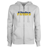 ENZA Ladies White Fleece Full Zip Hoodie-UC San Diego Tritons Mark