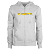 ENZA Ladies White Fleece Full Zip Hoodie-Tritons Wordmark