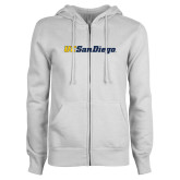 ENZA Ladies White Fleece Full Zip Hoodie-UC San Diego Wordmark