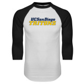 White/Black Raglan Baseball T Shirt-UC San Diego Tritons Mark