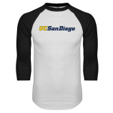 White/Black Raglan Baseball T Shirt-UC San Diego Wordmark