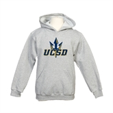 Youth Grey Fleece Hood-UCSD w/Trident
