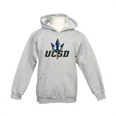 Youth Grey Fleece Hood-UCSD w/Trident