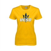 Ladies Gold T Shirt-UCSD w/Trident