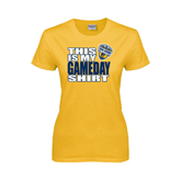 Ladies Gold T Shirt-UC San Diego Game Day