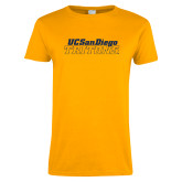 Ladies Gold T Shirt-UC San Diego Tritons Mark