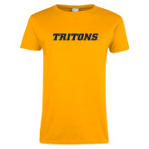 Ladies Gold T Shirt-Tritons Wordmark