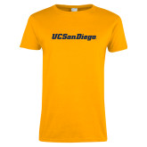 Ladies Gold T Shirt-UC San Diego Wordmark