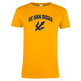 Ladies Gold T Shirt-UC San Diego Arched Over Trident