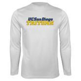 Performance White Longsleeve Shirt-UC San Diego Tritons Mark