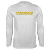 Performance White Longsleeve Shirt-Tritons Wordmark