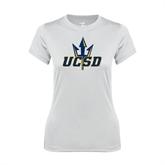 Ladies Syntrel Performance White Tee-UCSD w/Trident