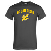 Charcoal T Shirt-UC San Diego Arched Over Trident