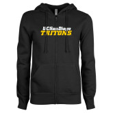 ENZA Ladies Black Fleece Full Zip Hoodie-UC San Diego Tritons Mark