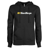 ENZA Ladies Black Fleece Full Zip Hoodie-UC San Diego Wordmark