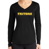 Ladies Syntrel Performance Black Longsleeve Shirt-Tritons Wordmark