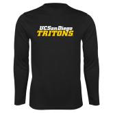 Performance Black Longsleeve Shirt-UC San Diego Tritons Mark