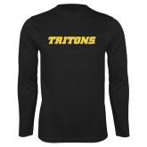 Performance Black Longsleeve Shirt-Tritons Wordmark