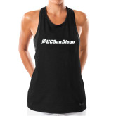 Ladies Under Armour Black Pinhole Tank-UC San Diego Primary Mark