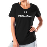 Ladies Under Armour Black Charged Cotton Tee-UC San Diego Primary Mark
