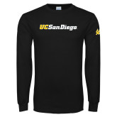 Black Long Sleeve T Shirt-UC San Diego Wordmark