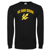 Black Long Sleeve T Shirt-UC San Diego Arched Over Trident
