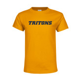 Youth Gold T Shirt-Tritons Wordmark