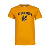 Youth Gold T Shirt-UC San Diego Arched Over Trident