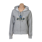 ENZA Ladies Grey Fleece Full Zip Hoodie-UCSD w/Trident