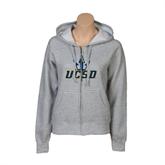 ENZA Ladies Grey Fleece Full Zip Hoodie-UCSD w/Trident