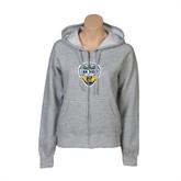 ENZA Ladies Grey Fleece Full Zip Hoodie-UC San Diego Crest