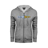 ENZA Ladies Grey Fleece Full Zip Hoodie-Tritons Rising