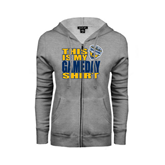 ENZA Ladies Grey Fleece Full Zip Hoodie-UC San Diego Game Day