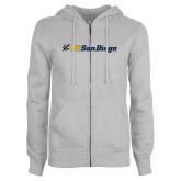 ENZA Ladies Grey Fleece Full Zip Hoodie-UC San Diego Primary Mark