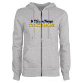 ENZA Ladies Grey Fleece Full Zip Hoodie-UC San Diego Tritons Mark