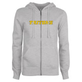 ENZA Ladies Grey Fleece Full Zip Hoodie-Tritons Wordmark