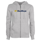 ENZA Ladies Grey Fleece Full Zip Hoodie-UC San Diego Wordmark