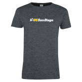 Ladies Dark Heather T Shirt-UC San Diego Primary Mark