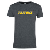 Ladies Dark Heather T Shirt-Tritons Wordmark