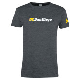 Ladies Dark Heather T Shirt-UC San Diego Wordmark