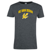 Ladies Dark Heather T Shirt-UC San Diego Arched Over Trident
