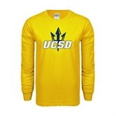 Gold Long Sleeve T Shirt-UCSD w/Trident